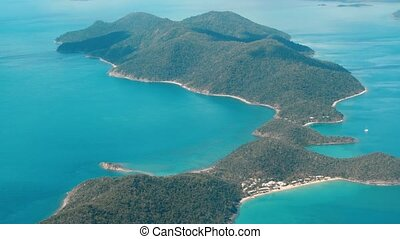 Whitsunday Islands, Australia. Beautiful ocean colors, aerial view. Slow motion