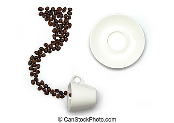 cofee - whity cup, saucer and cofee beans isolated on a ...