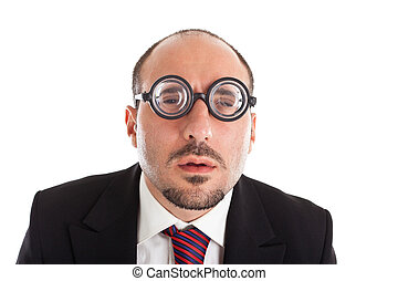 Who are you? - A businessman wearing thick, circle glasses