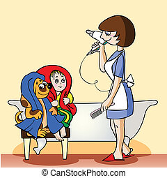 The woman selects whom the first to dry the hair dryer, a puppy or the child, a cheerful picture.