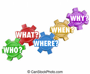 Who What Where Why When Questions Words Gears
