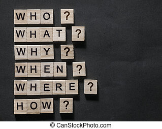 Who What Why When Where How, Questional Words Quotes Concept