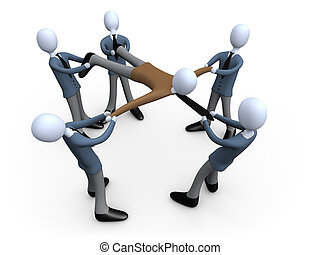 Metaphor of several business people trying to get the same client.