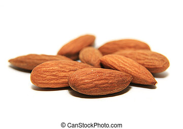 whole almonds in isolated white background