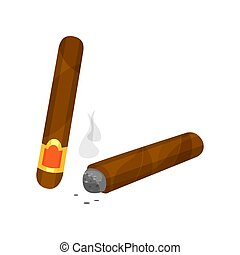 Whole and burning brown cigar with smoke. Smoking theme. Flat vector for promo poster, banner or product packaging