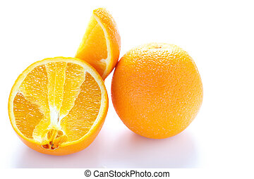 Whole and Cut Naval Orange - whole and cut oranges on a...