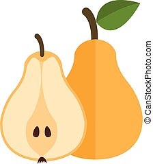Whole and cut yellow pear, vector illustration