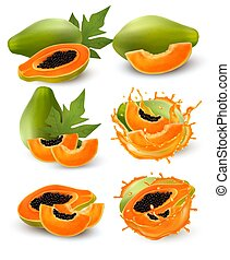 Whole and half of ripe papaya fruit with leaf and splash in ...