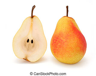 Whole and half pear - Whole and a half pear on white (w...