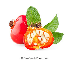 Whole and half rose hip with leaves