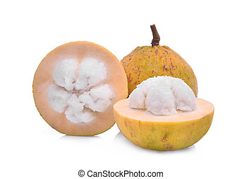 whole and half santol tropical fruit isolated on white...