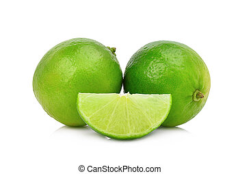 whole and slice fresh green lime isolated on white background