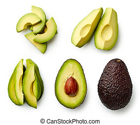 Whole and sliced avocado isolated on white background. Top...
