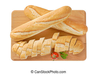 whole and sliced baguettes