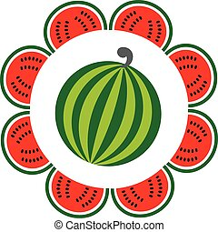 whole and sliced watermelon arranged like a flower, vector illustration
