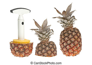 Whole and split pineapple with cutter