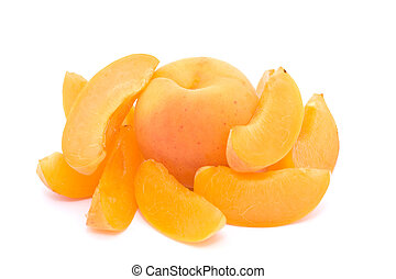 Whole apricot with apricot slices - Whole apricot surrounded...