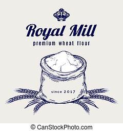 Whole bag of wheat flour emblem
