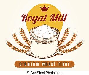 Whole bag of wheat flour sketch
