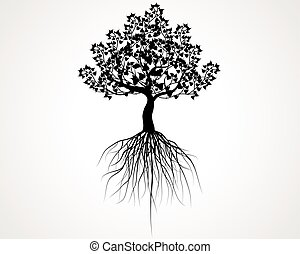 whole black tree with roots isolated white background vector