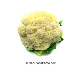 Cauliflower - Whole Cauliflower with leaves on white