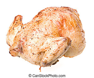 whole chicken on a white background