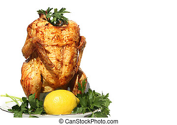 Whole cooked chicken on white background