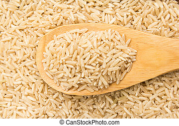 Whole Chinese Rice seed. Grains in wooden spoon. Close up.