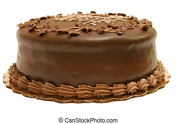 Whole Chocolate Cake - A whole dark chocolate cake. Isolated