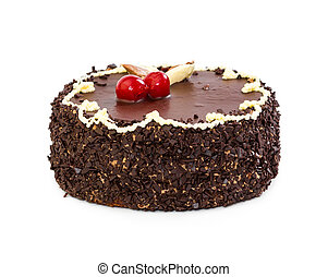 Whole chocolate cake with cherry