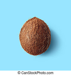 Whole coconut on blue background