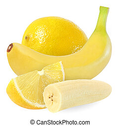 whole, cut banana and lemon isolated on white background with clipping path