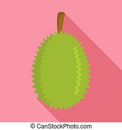 Whole durian icon, flat style