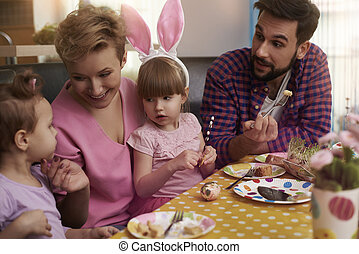 Whole family around the Easter table