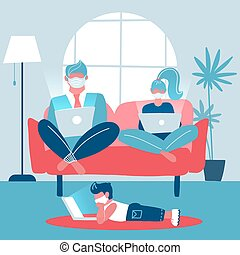Whole family working on laptops sitting on a sofa. Husband and wife work remotely. Child lying on the floor studying remotely. Trendy home interior. Gadget addiction. Flat vector illustration