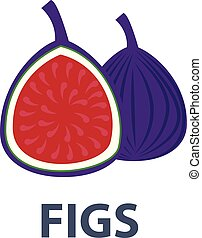 Whole figs with slice isolated on white background. Vector illustration.