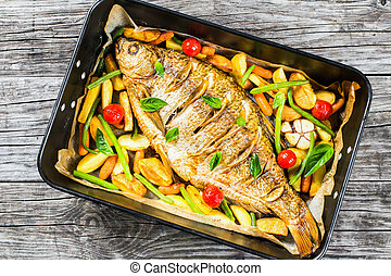 whole fish baked in a baking dish, top view