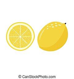 Whole fresh lemon with slice. Simple vector illustration.