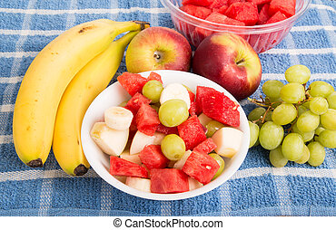 Whole Fruit with Cut Fruit in Bowl