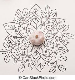 Whole garlic over outline floral background - Whole garlic ...