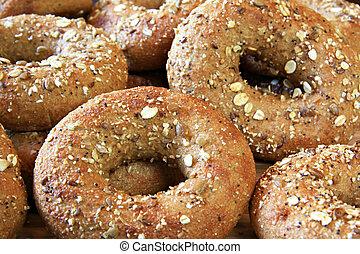 Whole grain bagels.