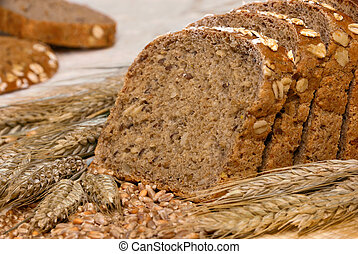 Whole-grain bread and cereals - Slices of finest organic...