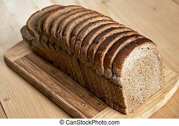 Whole grain bread sliced