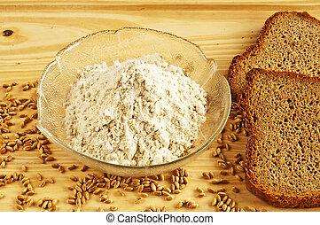 whole grain bread with flour