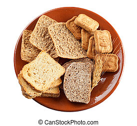 Whole grain carbohydrates on white background