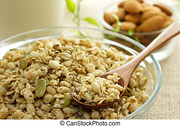 Whole grain cereal with milk and almond
