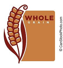 Whole grain product emblem with ripe spike and sign