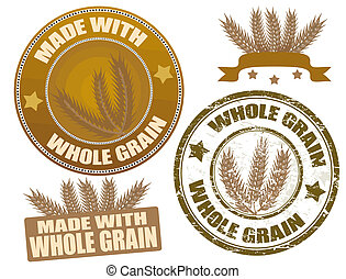 Whole Grain - Set of whole grain seals and grunge stamp, ...