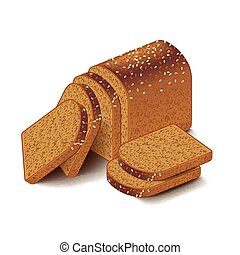 Whole grain sliced bread isolated on white vector - Whole...