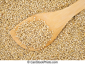 Whole grain sorghum seeds on a wood spoon.